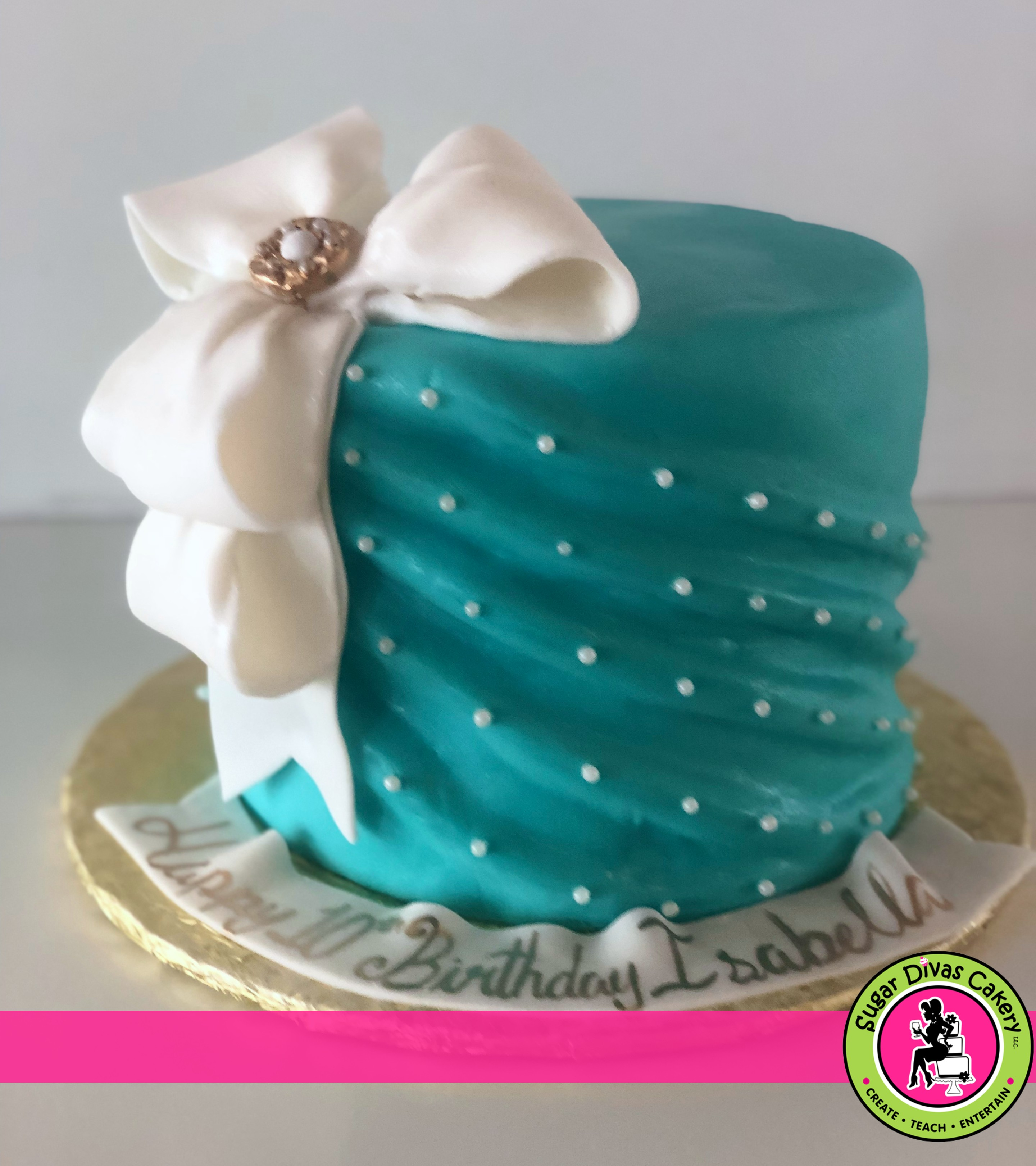 teal ruched with bow