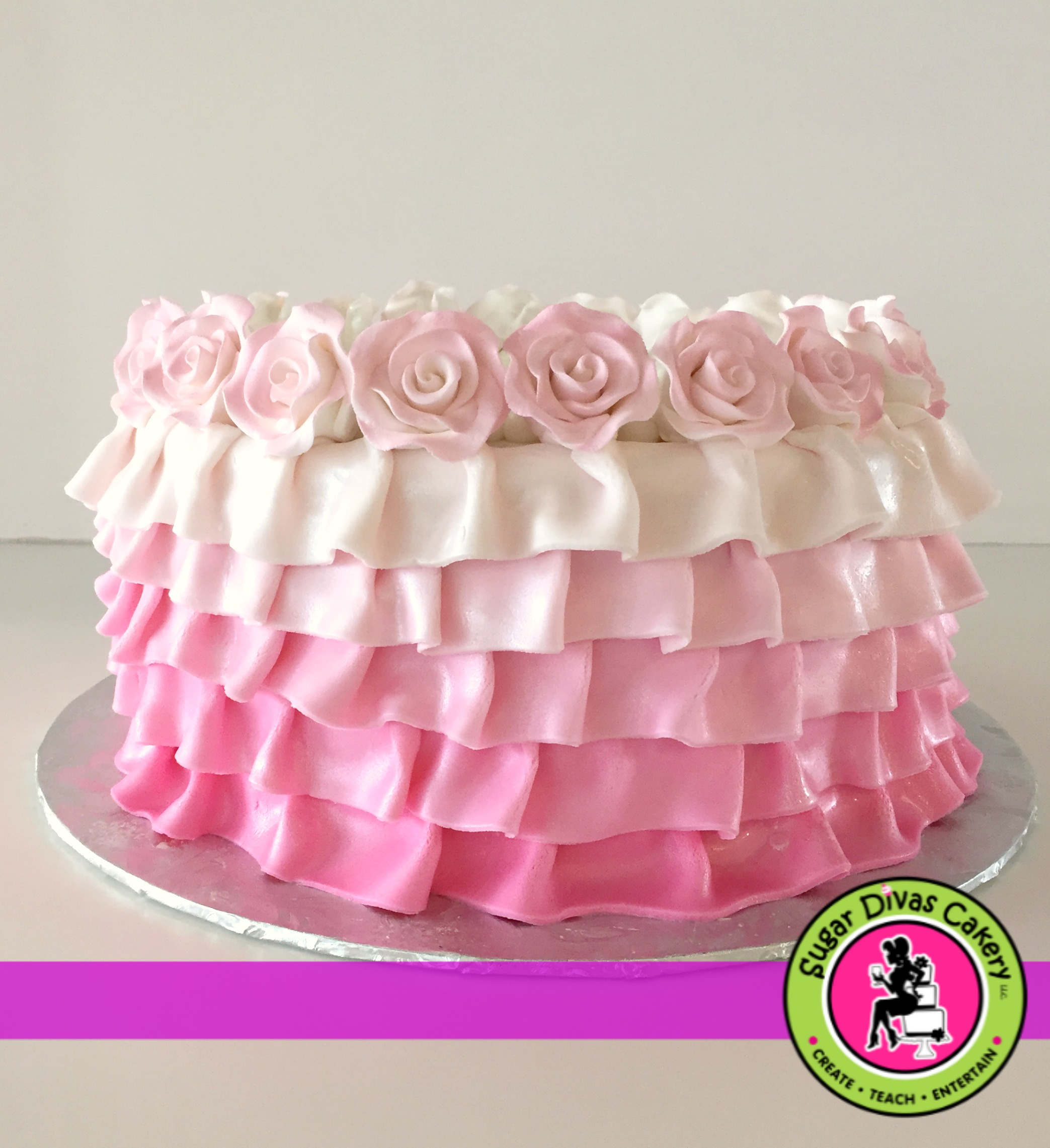 pink ruffles and roses
