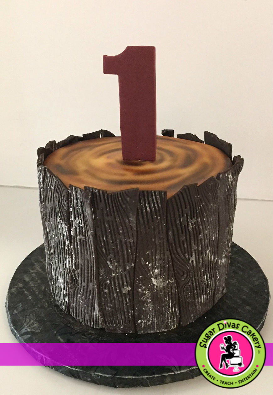 First Birthday Tree Stump Bark Dinosaur Cake Egg