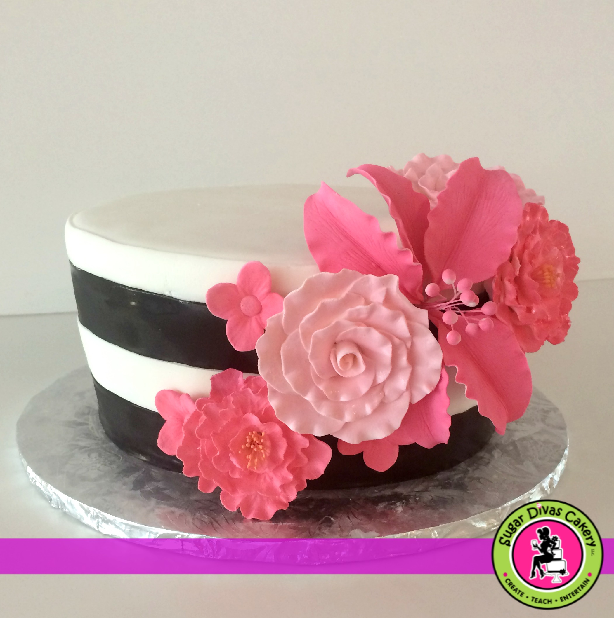 black white stripes pink flowers