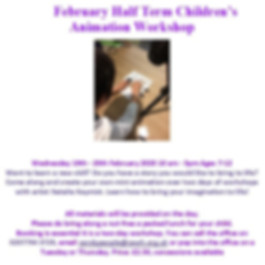 Half Term Children's Animation Workshop