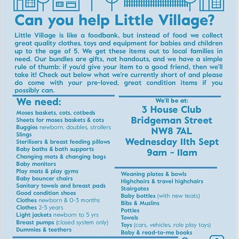LITTLE VILLAGE charity drop off day