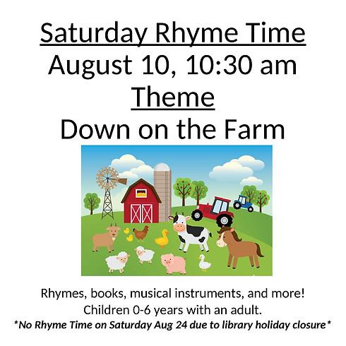 Saturday Rhyme Time