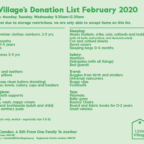 Little Village DONATION DROP OFF DAYS in February