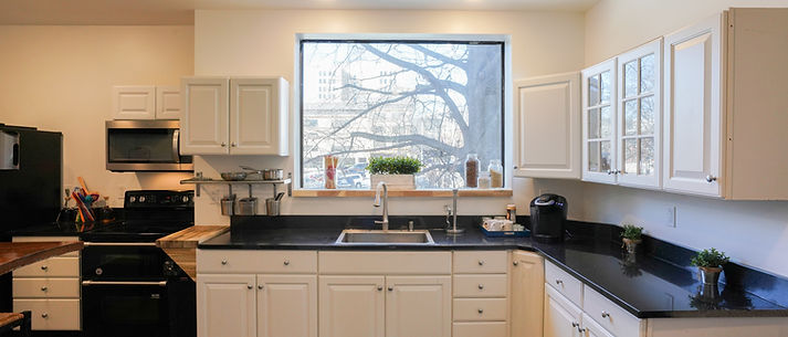 Shared Kitchen with granite countertops, stove, oven, microwave & refrigerator