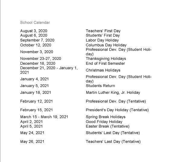 Desoto County School Calendar 2020-2021.