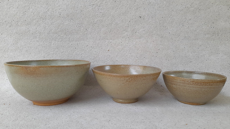 Set of three different sized bowls