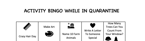 Bingo Activity for Quarantine