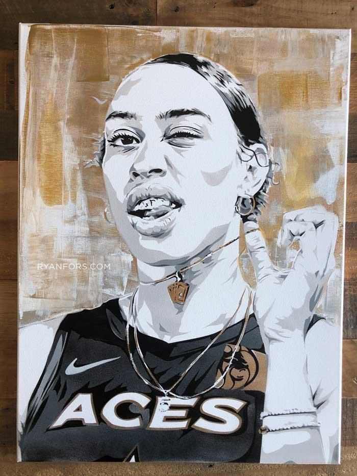 WNBA Dearica Hamby Las Vegas Aces Ryan Fors Stencil Painting