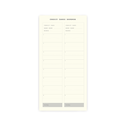 "Planner Sticker | SET E : ""CREDIT CARDS EXPENSE"""