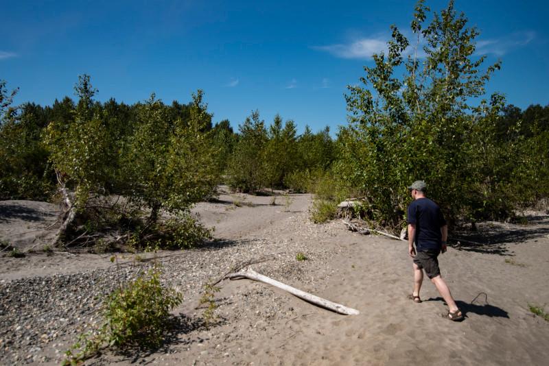 Walking on unnamed island skagit river
