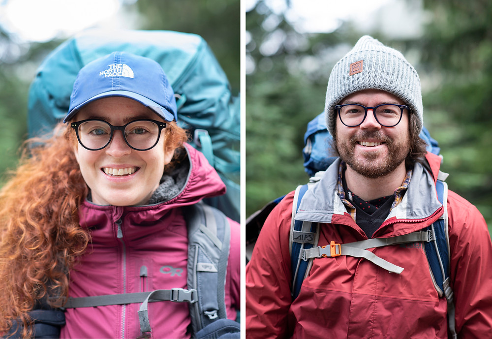 Pre-hike portraits of two hikers