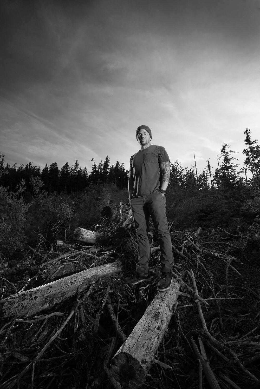 Andrew on debris mound