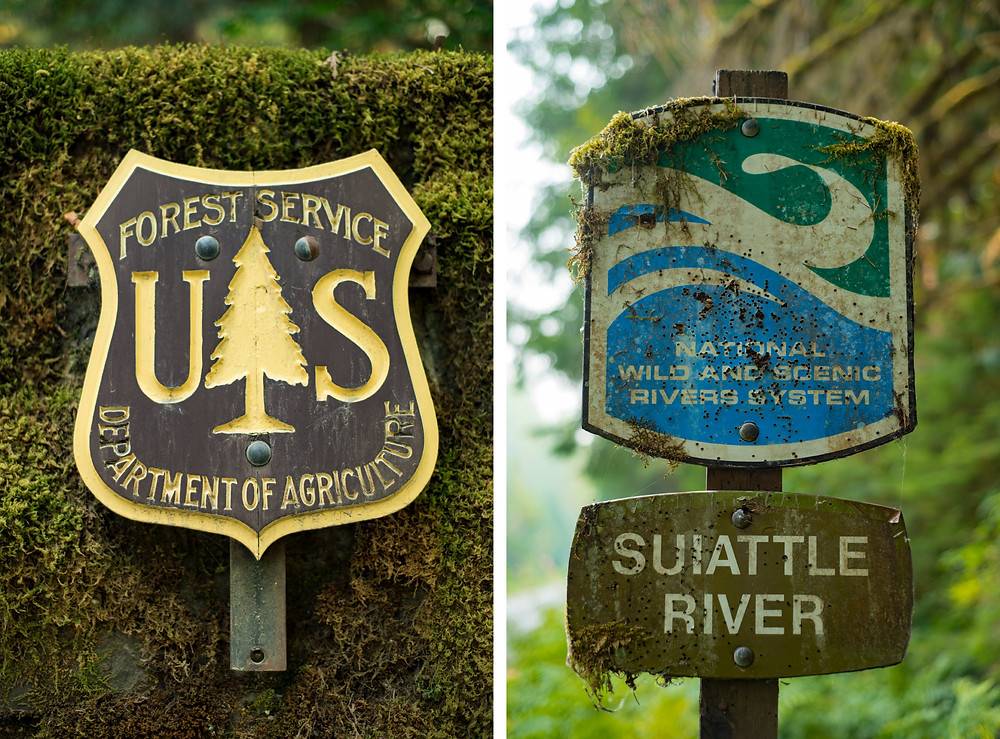 Forest Service Sign & Suiattle River Sign