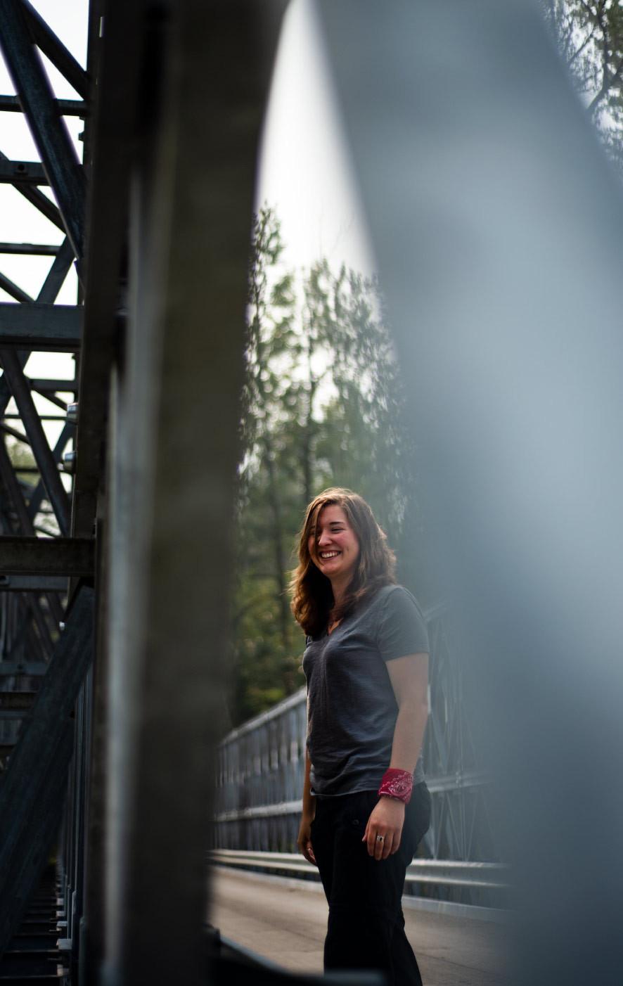 Sam smiling on bridge