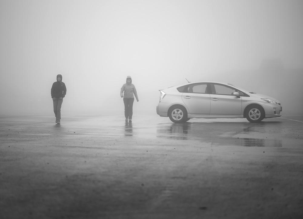 Foggy Artist Point Parking Lot