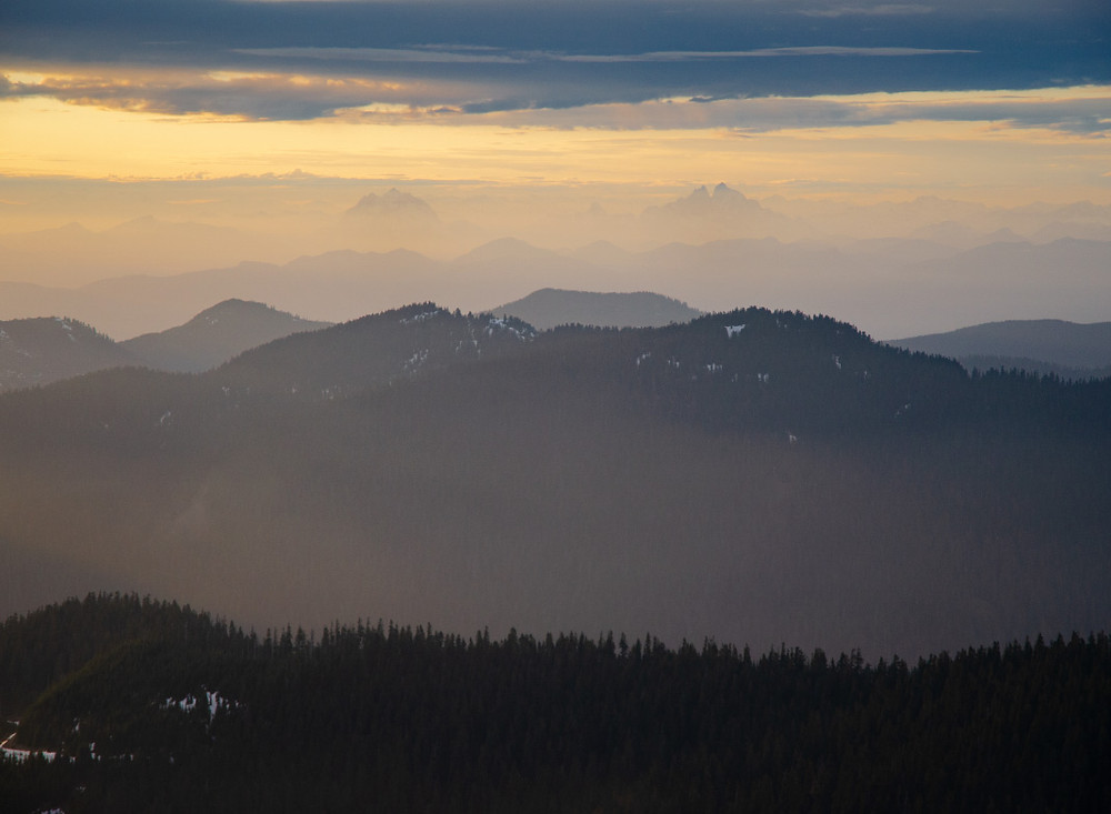 Sunset on the foothills and Canadian Peaks