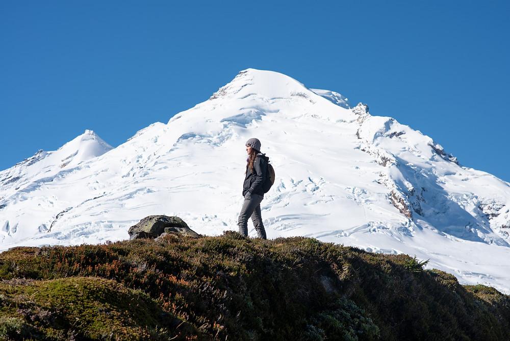 Megan posing infront of Mount Baker