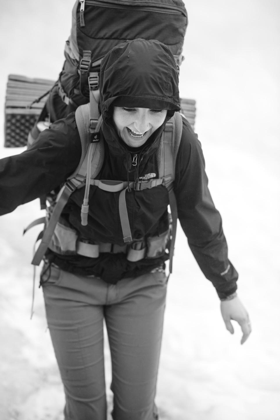 Morgan laughing on snowfield