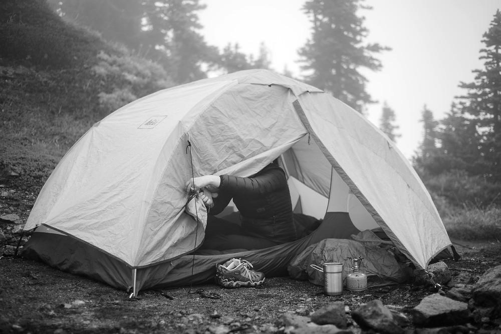 Megan opening tent