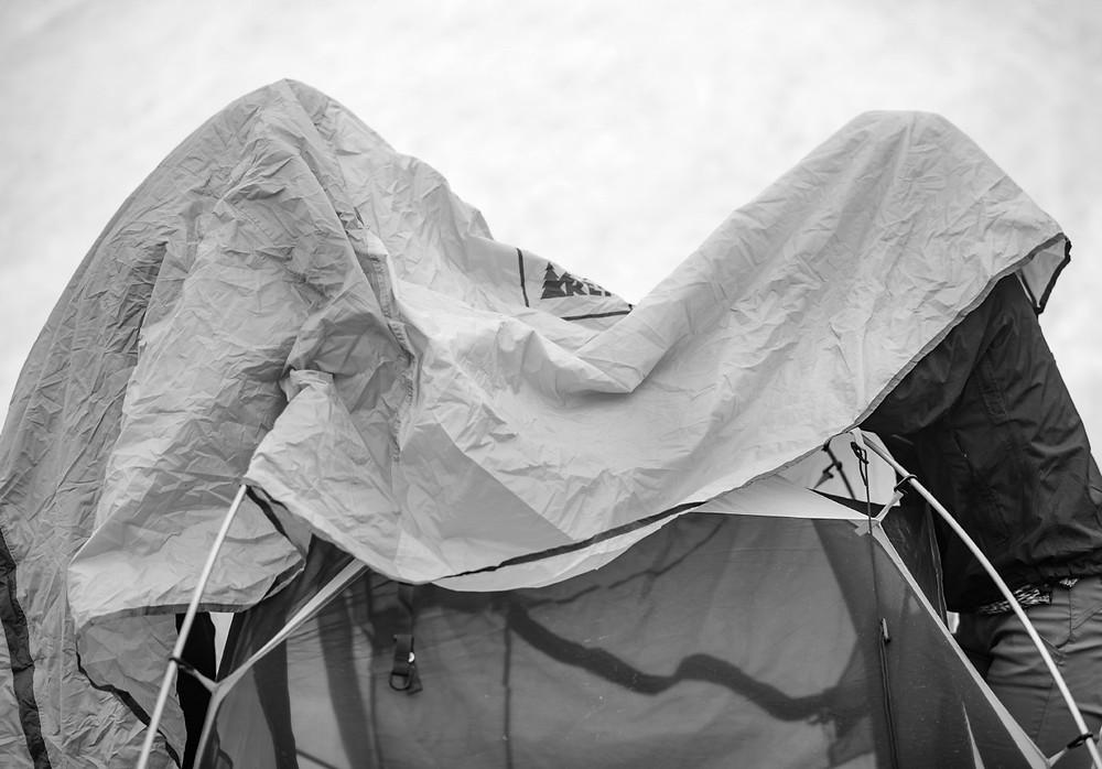 Megan and Morgan underneath tent cover