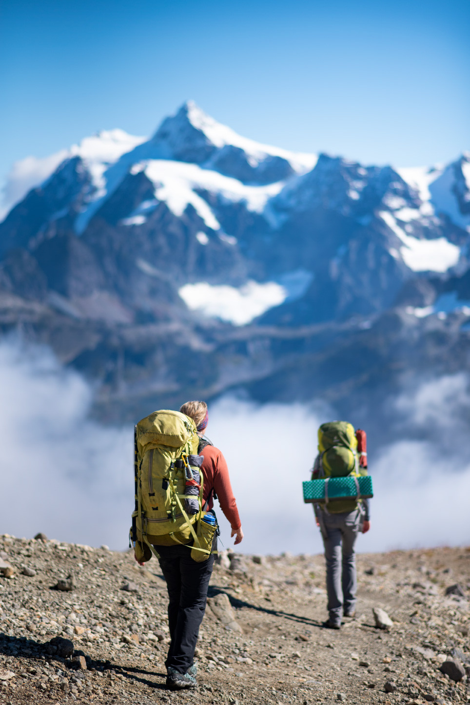 hiking back with Mount Shuksan in background