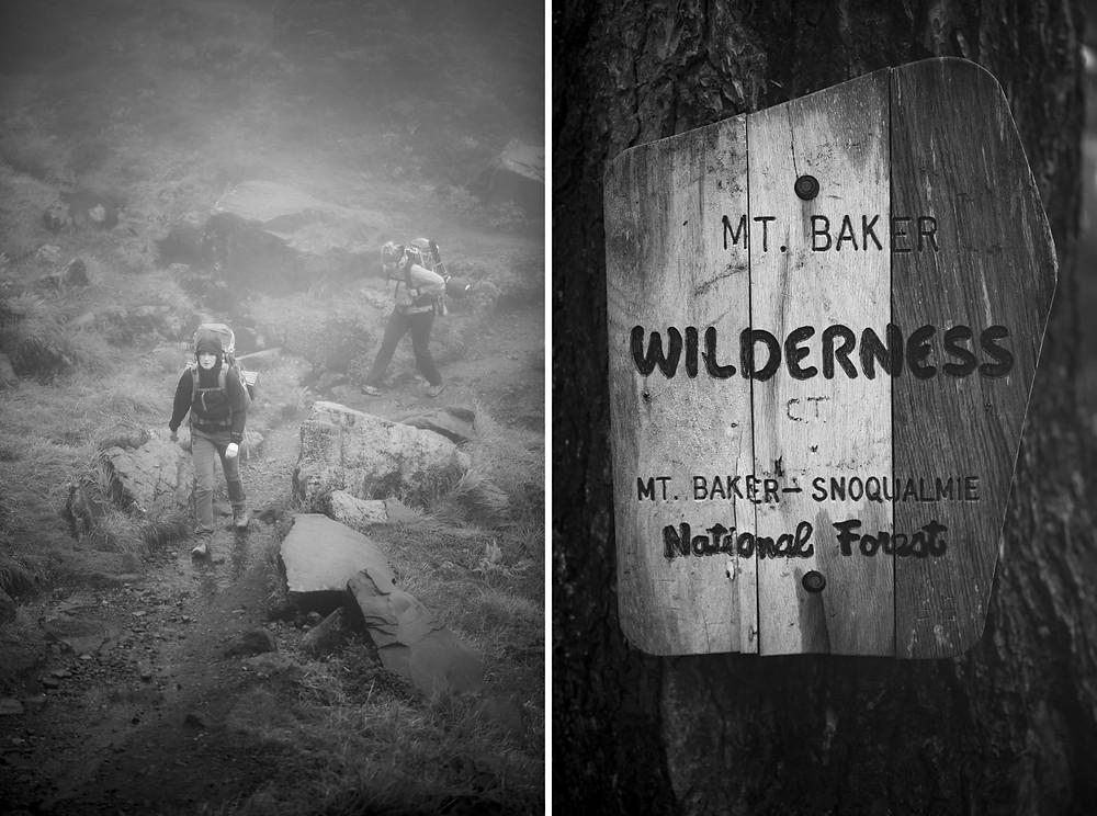 Foggy trail & Mt Baker Sign
