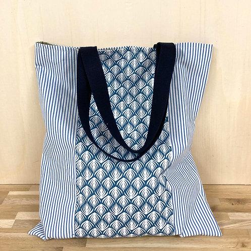 Tote bag rayures bleues  - Pagatou