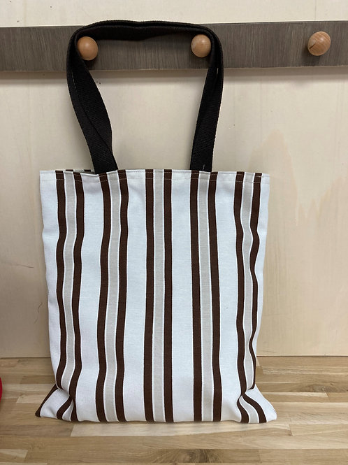 Tote bag rayures marrons  - Pagatou