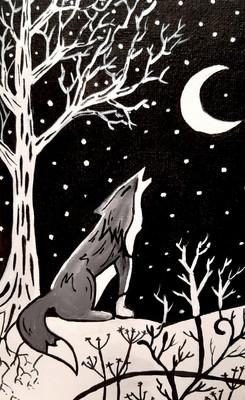 Loup  à la lune