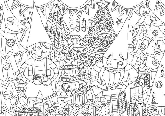 """Carte postale à colorier """"Les lutins""""_5"""
