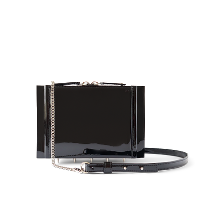Night Crawler Crossbody Bag, in Black Patent.