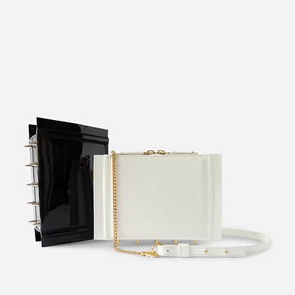 Night Crawler Crossbody Bag, in White Patent.