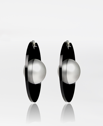 Saturnus Earrings, in Matte Silver 925 Sterling