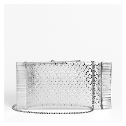 Bubble Wrap Clutch, Silver.