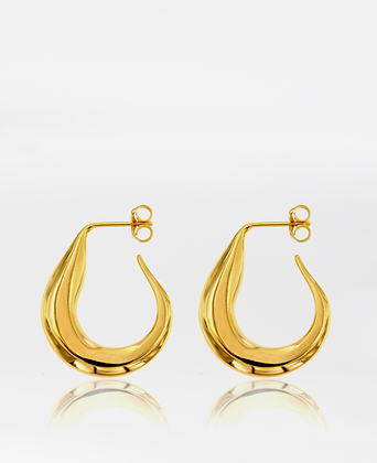Abstract Banana Hoop, in gold vermeil