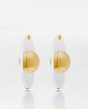 Saturnus Earrings, in gold vermeil