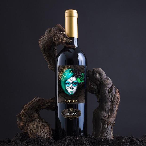 Conception graphique étiquette de vin, cuvée Catrina, Vignobles Vellas