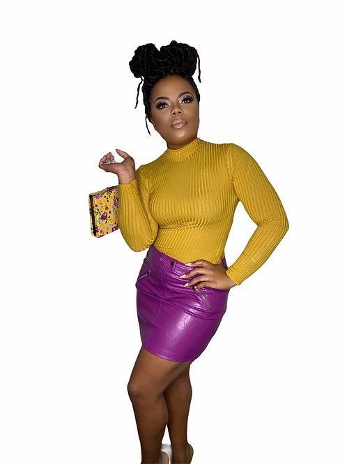 Wild Plum Leather Skirt