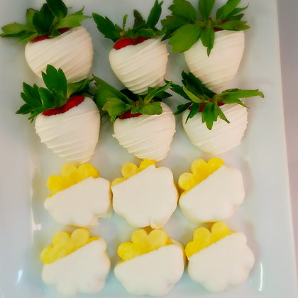 White Chocolate Dipped Strawberries & Pineapples