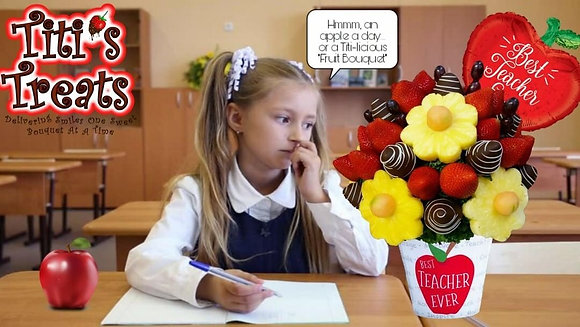 """""""Best Teacher Ever Daisy"""" Bouquet with Chocolate dipped strawberries"""