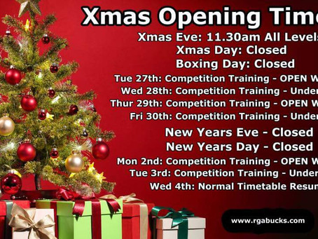 RGA Bucks Christmas opening times