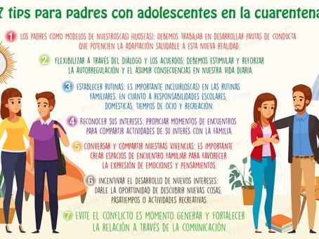 TIPS: para padres con adolescentes en cuarentena.