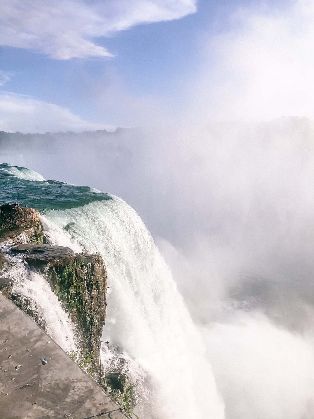 close-up view of the top of Niagara Falls from the American side