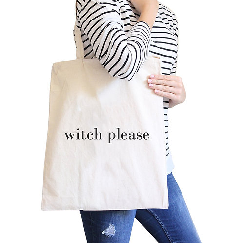 Witch Please Natural Canvas Bags