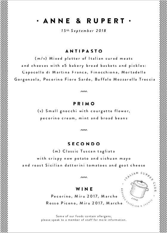 Bespoke Italian wedding menu