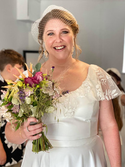 Beautiful bride Gemma wearing natural looking, glowing makeup, she looked incredible styli