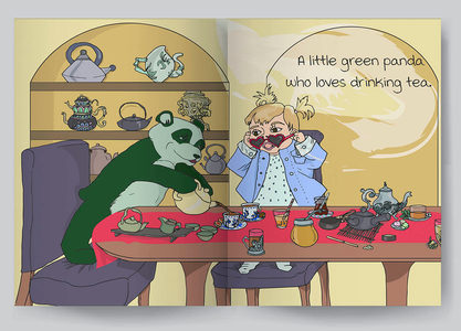 A panda who loves tea.