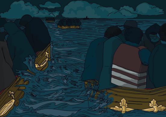 Refugee boat journey.