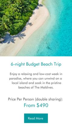 6-night Budget Beach Maldives Trip